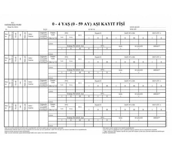 0-4 yaş aşı kayıt fişi (form 012A) DEFTERİ